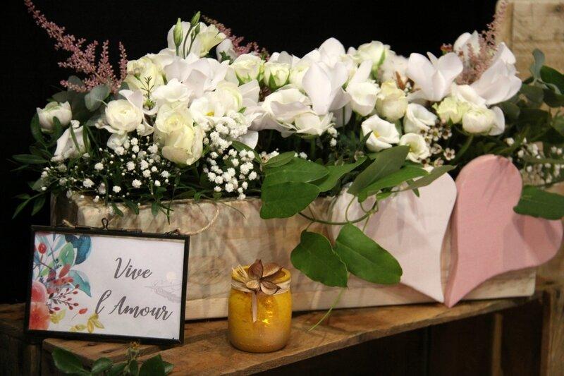 Décoration mariage - jardinière fleurie - création La Saladelle - Atelier floral Perpignan et Pyrénées-Orientales