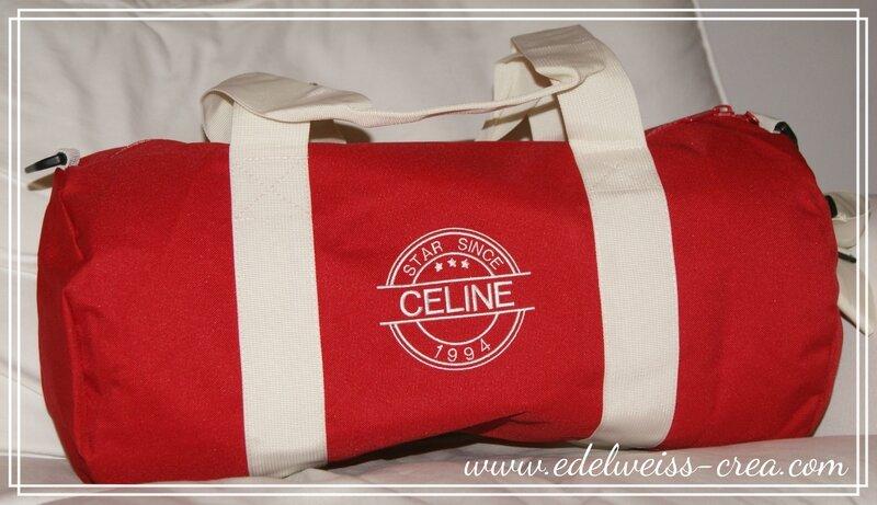 Sac polochon sport et wee-end rouge - Céline star since année de naissance