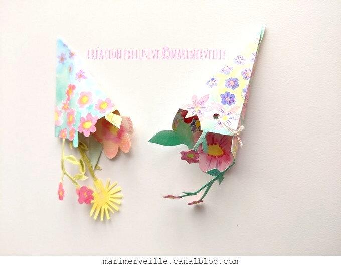 petits cornets aquarellés - créations marimerveille