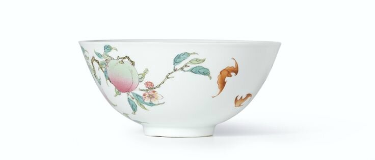 An extremely rare and superbly enamelled pair of Famille-Rose 'Peach' bowls, Marks and period of Yongzheng (4)