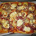 Pizza pâte liquide au jambon fumé et pommes de terre