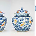 A very rare enamelled blue and white 'fish' jar and cover, jiajing six-character mark and of the period (1522-1566)