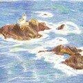 L'île - crayons de couleur novembre 2003