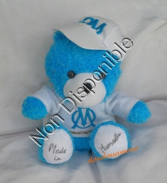 Peluche Mascotte Doudou Ours Teddy Bleu Et Blanc Casquette Assis Club Football OM Olympique Marseille