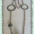 Collier chaine bronze+perles fimo
