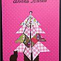 carte de voeux rose avec sapin en origami et chaton