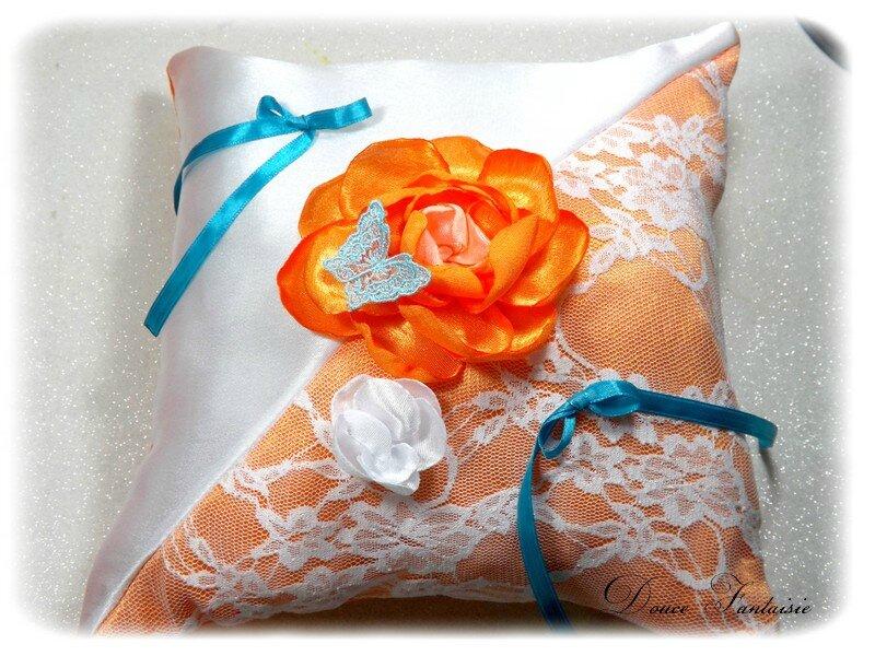 Coussin pour alliances les îles satin orange turquoise blanc papillon