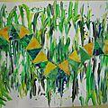 Autour du train des souris 2: les serpents, traînées à la peinture à doigt et papier découpé