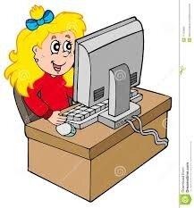 Fille De Dessin Animé Travaillant Avec L'ordinateur Illustration ...