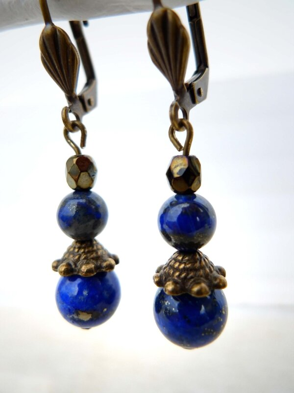 Lapis Lazuli 1 métal bronzé