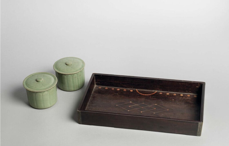 A pair of Longquan celadon weiqi boxes and covers, Northern Song dynasty (960-1127)