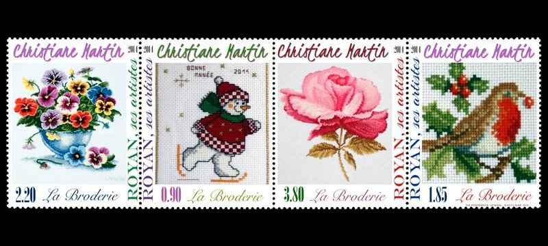 BRODERIES TIMBRES POSTES