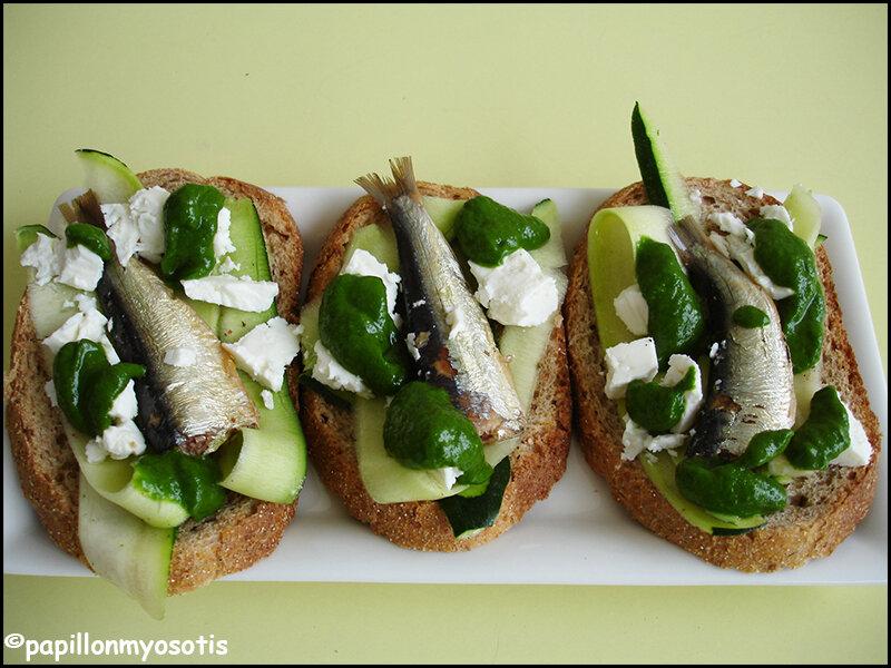 Tartines de sardines courgette feta