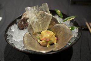 RyuGin-Ankimo-monkfish-liver-seared-with-ark-shell-clam-and-winter-vegetable-in-apple-vinegar-miso-and-mustard