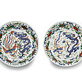 A pair of wucai porcelain dishes, wanli marks and period (1573-1620)