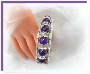 2 Rose Bracelet Ethnique Horizon 6 Perles Jade Purple 10 mm Argent du Tibet