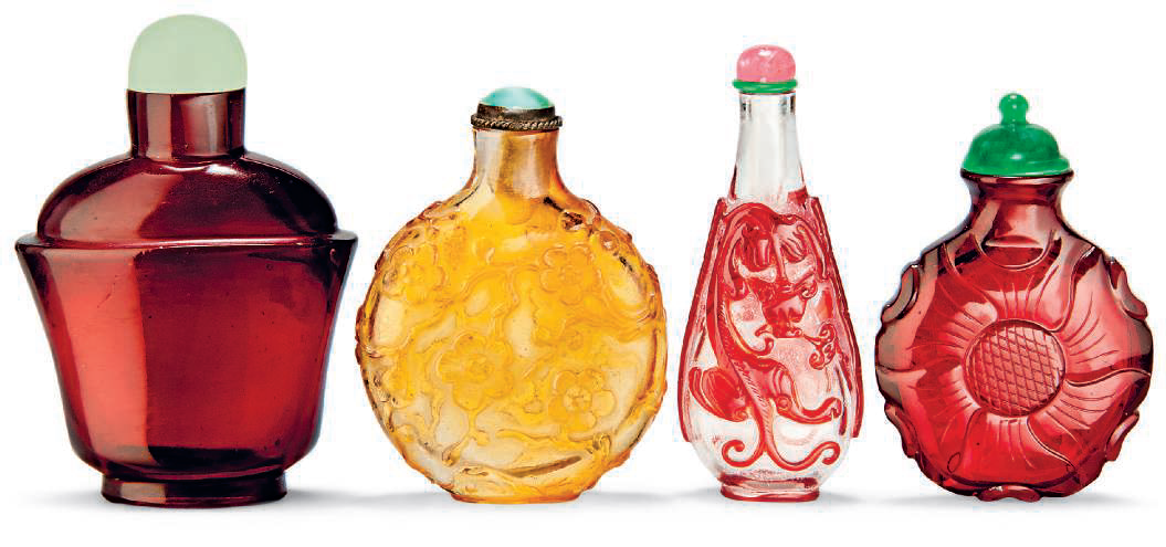 A group of four glass snuff bottles, 19th century