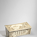 A cizhou inscribed and painted 'landscape and phoenix' rectangular pillow, jin-yuan dynasty (1115-1368)
