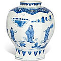 A blue and white 'figural' jar, 17th century