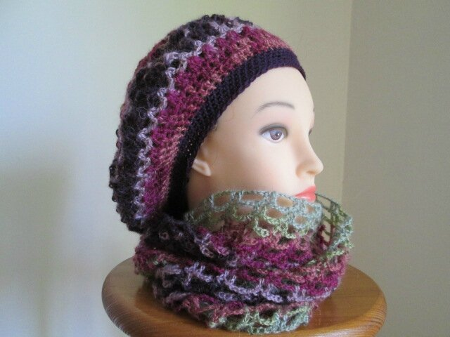 Beret et snood en angora active (1)