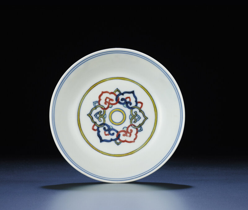 A rare ming doucai dish, Jiajing six-character mark within double-squares and of the period (1522-1566)