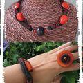 Parure cuir orange et noir (P48)