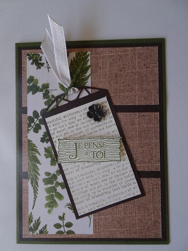 16b Carte Papiers Fleurs séchées et tag Splendeur à superposer