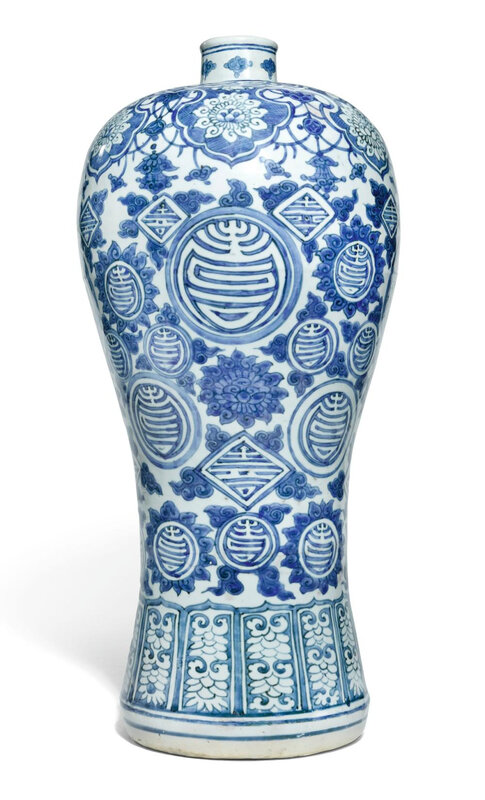 A large 'Shou' blue and white meiping jar, Ming dynasty, Wanli period (1573-1620)