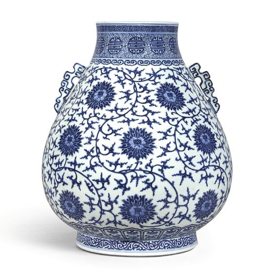 A large blue and white 'lotus' vase, hu, Seal mark and period of Qianlong (1736-1795)
