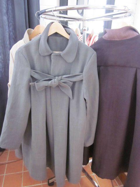 manteau en lin gris ardoise à noeud (1)