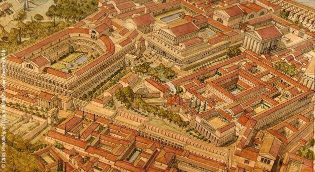 Rome palais impérieux dessin aquarellé