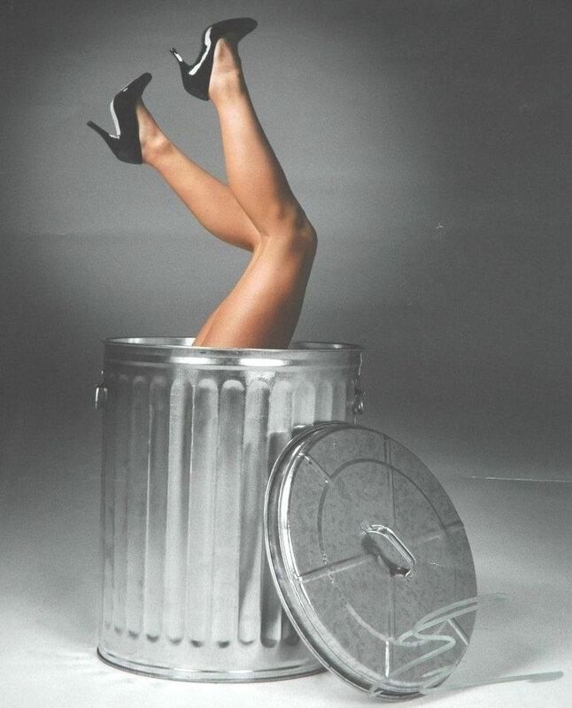 Woman Trash can