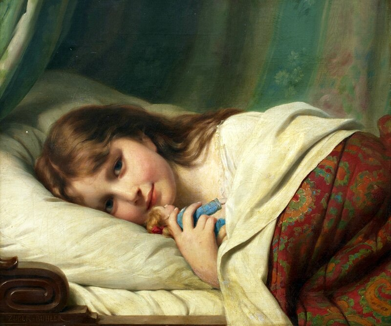 Girl-with-Doll-Fritz-Zuber-Buhler-Date-unknown