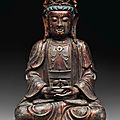 A gilt-lacquered bronze figure of guanyin, late ming dynasty, 17th century