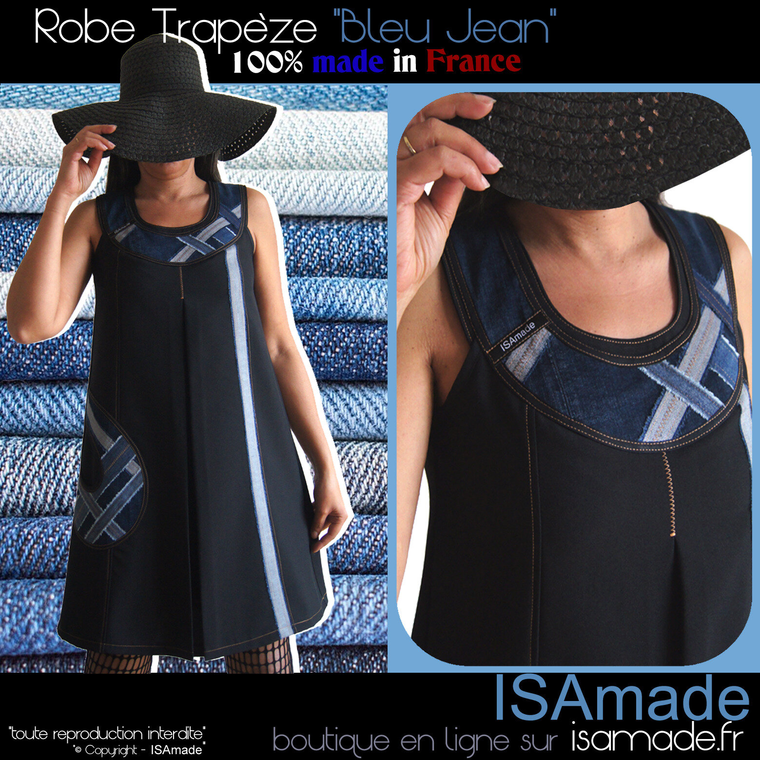 Robe made in france noire jean