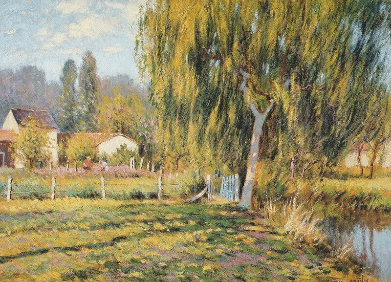 Maurice Lemaître Bords de la Veude à Champigny (Vienne) Huile sur toile 33x46cm