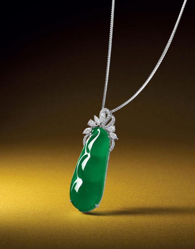 Jadeite 'peapod' and diamond pendent necklace