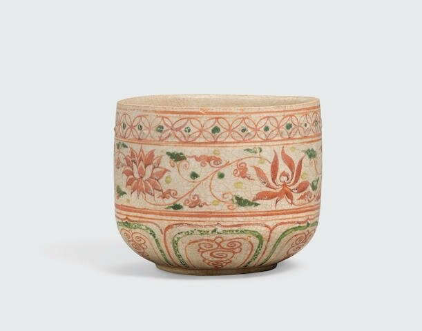 A glazed beaker with raised relief and polychrome enamel decoration, Trần -Lê dynasty, 14th-15th century, the enamel decoration possibly later