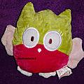 Doudou chouette hibou, rose vert, tissu velours, kimball la halle, www.doudoupeluche.fr
