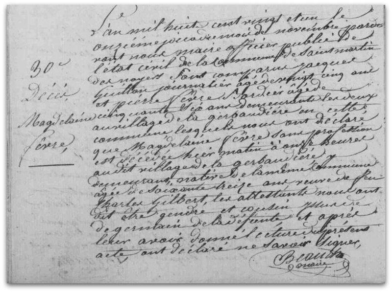 Fèvre Magdelaine décès 1821 z