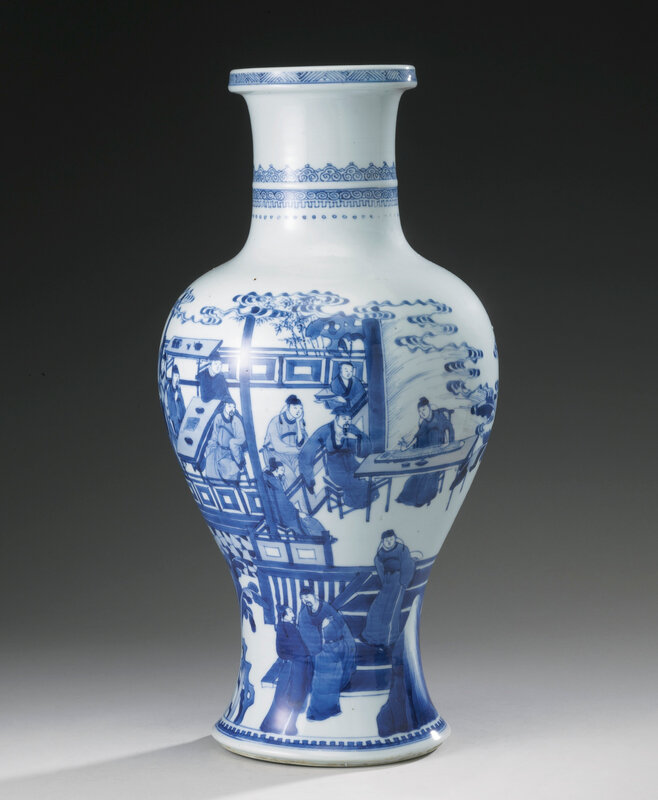 A blue and white 'Four accomplishments' baluster vase, Qing dynasty, Kangxi period (1662-1722)