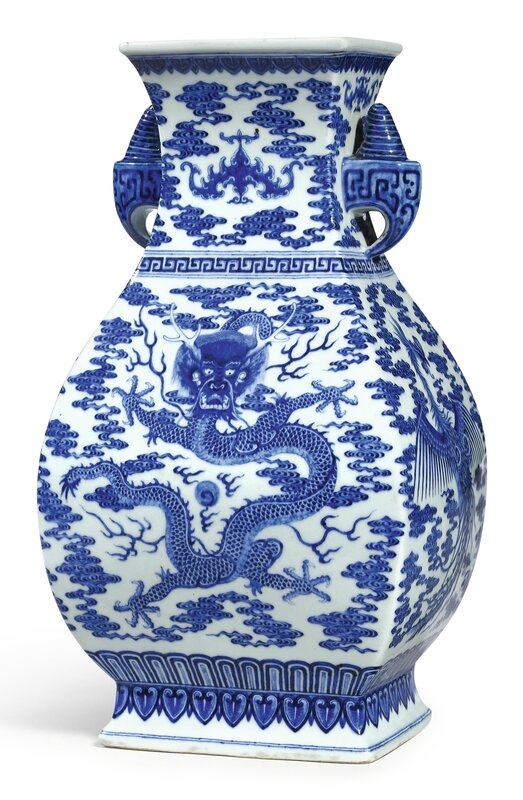A fine and extremely rare blue and white 'dragon and phoenix' vase, Seal mark and period of Qianlong (1736-1795)
