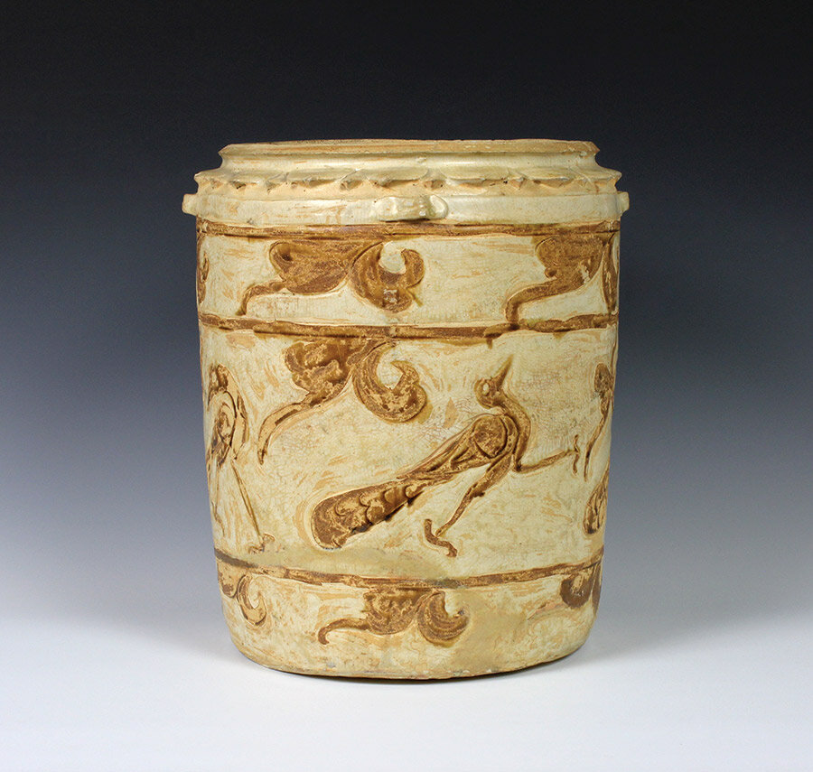 Storage jar, stoneware with incised design and cream and brown glaze, height 33 cm, 12th-14th century, Ly-Tran dynasty (1009-1400) Vietnam