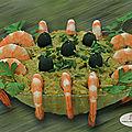 Houmous de brocoli et crevettes