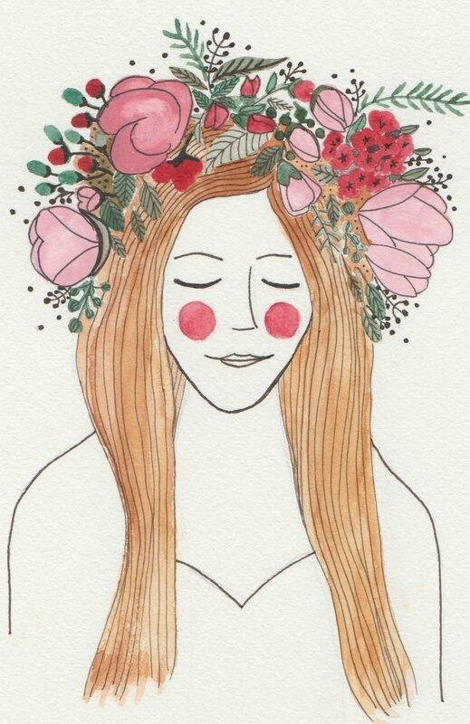 Cheveux Lâchés Couronne De Fleurs 48 Bis