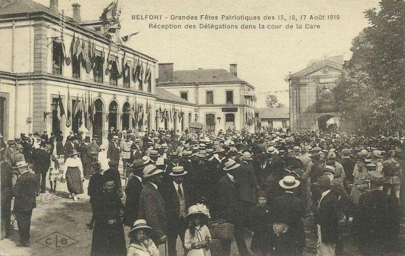 CPA Belfort Gare Fêtes patriotiques 1919