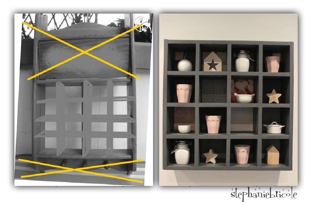 Un petit meuble étagère chiné et … relooké (aidée par ma clouteuse !)