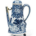 A rare blue and white coffee-pot and cover, kangxi period (1662-1722)