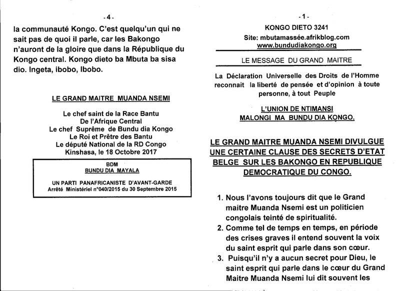 LE GRAND MAITRE MUANDA NSEMI DIVULGUE UNE CERTAINE CLAUSE DES SECRETS D'ETAT BELGE a