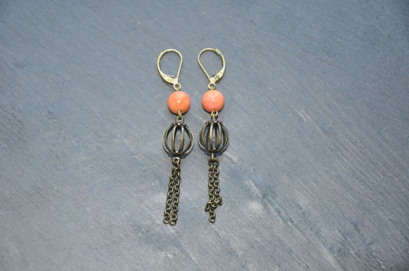 Boucles Balloon pompon corail.